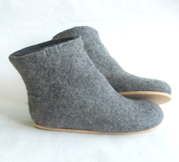 Felt Boots Charcoal Black Felted Boots for Women, Color Rubber Soles, Felted Wool Boots, Winter Boots, Valenki Boots Winter Felted Booties