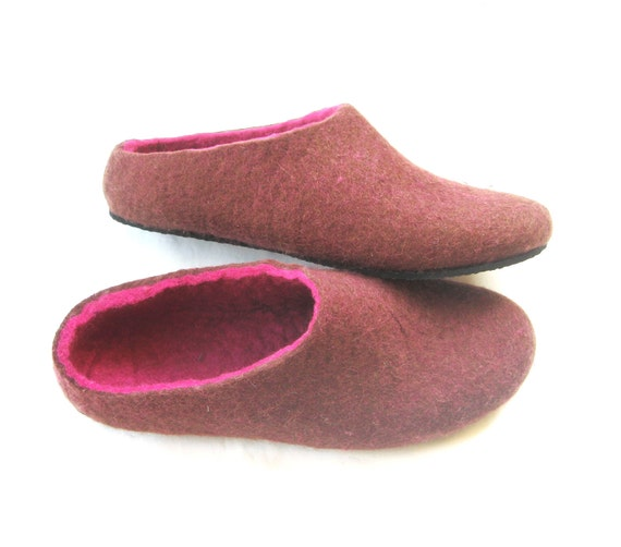 Items similar to eggplant felted slippers felted clogs for Minimalist house slippers
