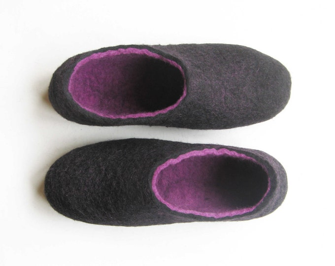 Felted Slippers Black Orchid, Purple Slippers House Violet Shoes, 7 Color Soles Felt Shoes Purple Shoes Wedding, Natural Wool