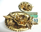 Set of Brass Flower Wall Plaques Vintage