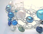 Bubbles - Wire Crocheted Pearl Bracelet