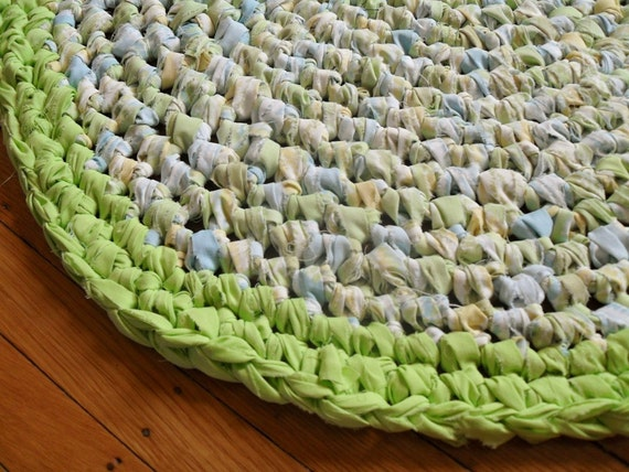 Seaside Cotton Crochet Rag Rug - From Upcycled Repurposed Linens