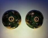 YSL beautiful artwork vintage earrings like new, rare, green enamel, gold plated