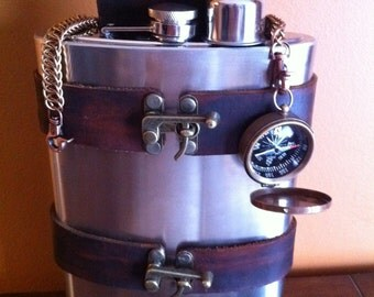Leather Steampunk Flask Holder / Holster with 64 oz Flask