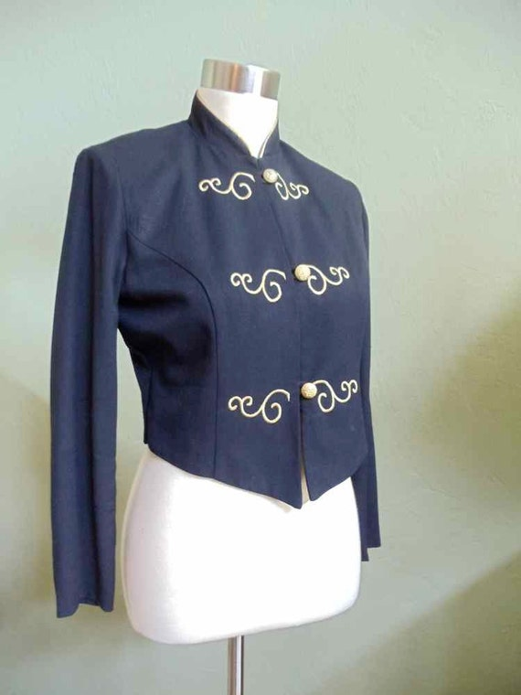 Jessica Howard Black Jacket Accented with Gold Satin Embroidery
