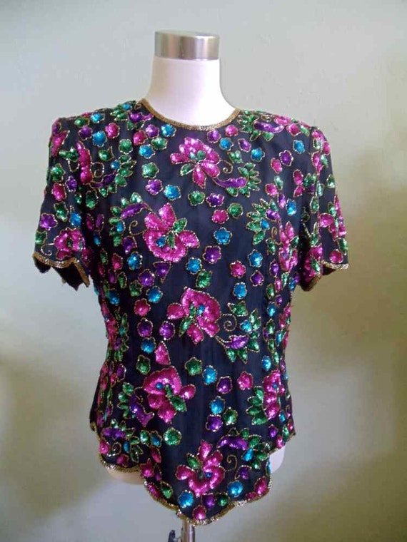 Stenay Flower Sequin and Beaded Evening Top
