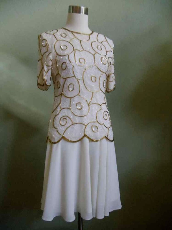 """Vintage Stenay Bugle Beaded Evening Top and Coordinating Skirt Bust 34"""" Waist 22 & 1/2""""-32"""" (gathered)"""