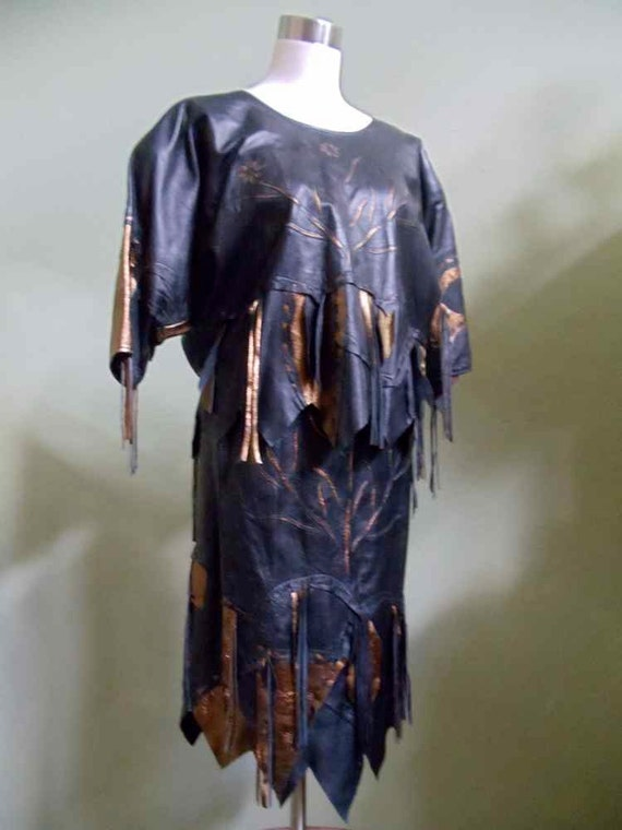 Hirbauu Coordinating Top and Skirt Made in Israel of Genuine Jerusalem Leather
