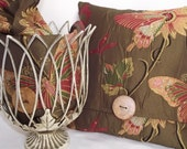 RESERVED FOR DEBBIE 10.05.2011....Chocolate Brown Floral/ Butterfly Embroidered Fabric with Wood Button Pillow Cover