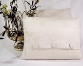 Pillow Cover in Off White Cotton Fabric with Embroidered Pattern. - whiteoakroom