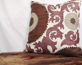 Suzani fabric 20x20 Pillow Cover Fahri Grape, Beige Background, Plum Purple, Chocolate Brown, Taupe