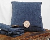 Pillow Cover Chenille Denim Blue  with a Wood Button