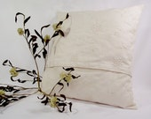 Pillow Cover 18x18 Off White Cotton Linen Fabric with Candle Wicking Embroidered Pattern.