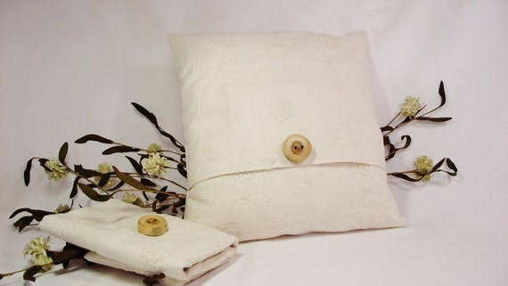 Pillow Cover 14x14 Off White Linen Cotton Fabric with Embroidered Pattern.