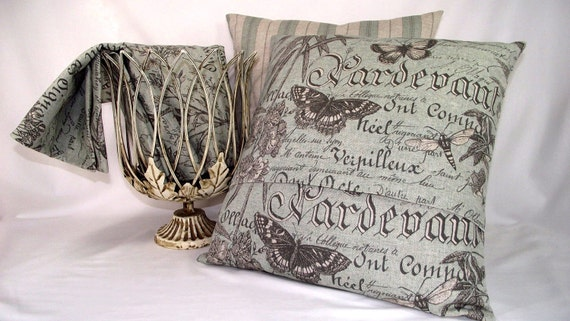 Pillow Cover Blue Butterfly Botanical on French Script Linen Fabric