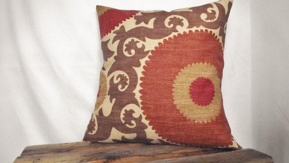 Suzani fabric in Fahri Clove  Pillow Cover