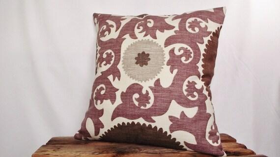 Suzani fabric in Fahri Grape Pillow Cover