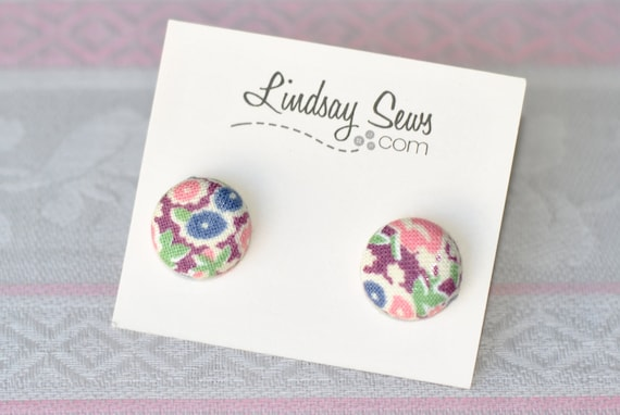 Mixed Berry Flowers Flower Fabric Covered Button Earrings for Adoption Fundraiser