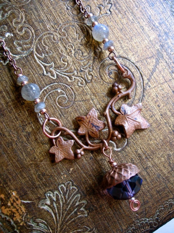 SALE- Purple Acorn and Ivy Necklace