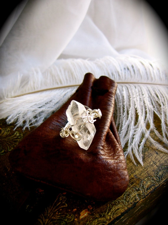 SALE- Pure Powerful Electric Energy- herkimer quartz ring