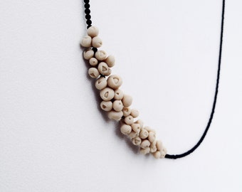 modern elegant minimal  necklace - organic form flower jewellry -  nO. 174 'sea anemones between tiny onyx'