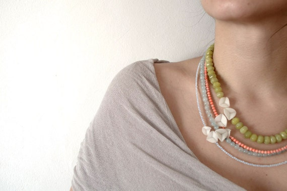 nO.85 yellow green, pink 'n' light blue necklace RESERVED listing