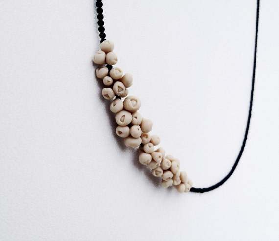 modern elegant minimal  necklace - organic form flower jewellry -  nO. 174 'sea anemones between tiny onyx'