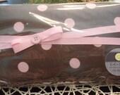 Designer baby wipes case pink polka dots