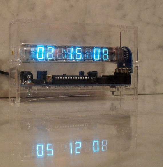 "Six Digit Vacuum Fluorescent Tube Clock ""The Ice Tube Clock"""