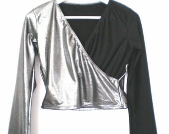 Metallic and black crop top size - M/L