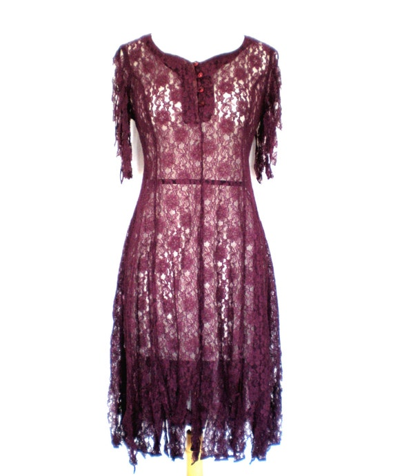 90's sheer lace dress size - S