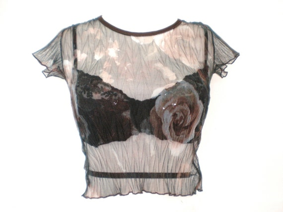 90's sheer floral cropped top size - S