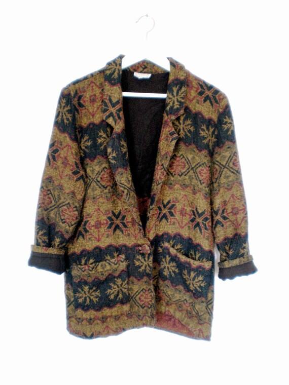 90's patterned fleece blazer size - S/M