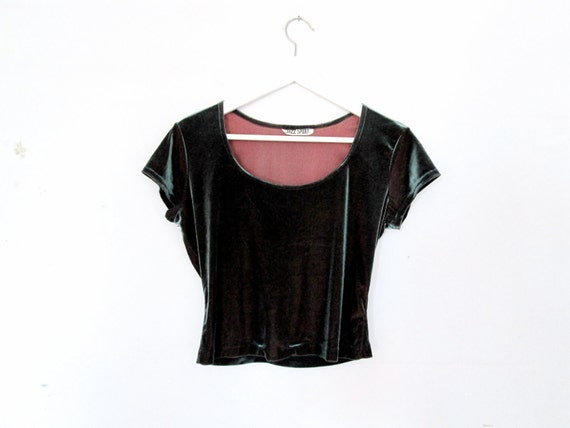 90's Gorgeous velvet cropped top size - M