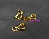 50pcs Gold Plated 8mmx16mm Copper Pendant Pinch Bail Slider