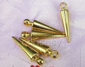 40pcs Gold Plated 30mm Zinc Metal Alloy Basketball Wives Fashion Earring Findings Spike Fit Hoop