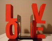 SALE ITEM  Wooden LOVE Bookends - Great Home or Office Decor - Two Inch Deep Chunky Letters