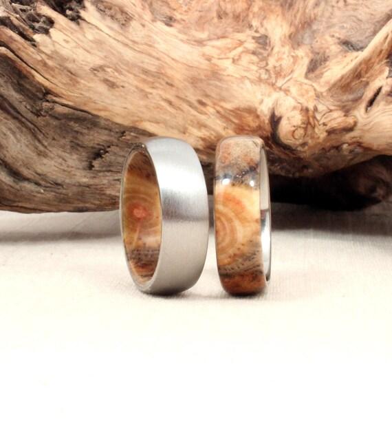 Size 8.75 - Titanium and Spalted Pine Pair Wood Rings Titanium Rings