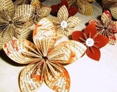 9 Handmade Upcycled Paper Flowers- custom, wedding decoration, fall colors, gift, cake topper