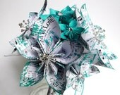 Paper Flower Bridal Package- Made to order, one of a kind origami, bride, groom, bridesmaid, groomsmen, handmade bridal bouquet