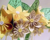 Love Spring Paper Flower Wedding - handmade, made to order, custom, daisy, leaf, bride, groom, bridesmaid, boutonniere, corsage