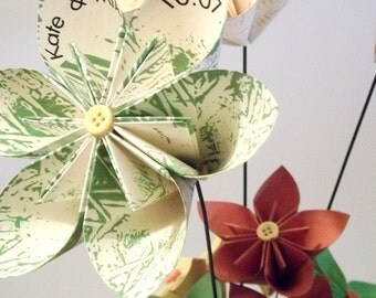 Personalized Stemmed Paper Flower Assortment- custom, made to order, one of a kind, origami, wedding, bouquet, centerpiece, annivesary, gift