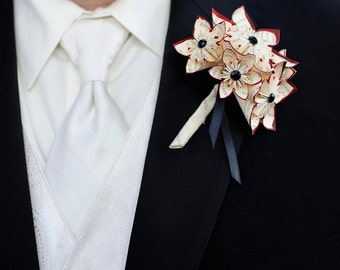 Paper Flower Grooms Boutonniere- 5 Flowers, wedding accessory, groomsmen, wedding, handmade, origami, paper flowers