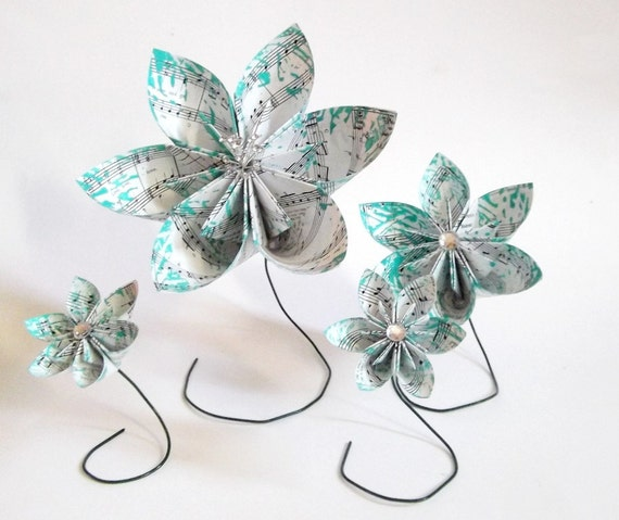 Paper Flower Centerpiece- all you need is love, set of 4, handmade, made to order, gift, wedding, valentines day