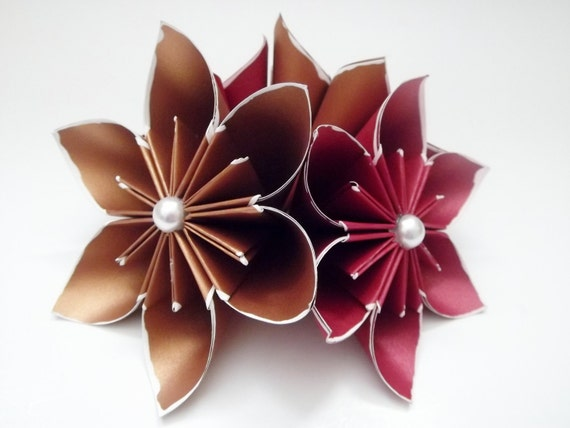 4 Copper and Red Paper Flowers- ready to ship, handmade, gift, anniversary, wedding, valentines day