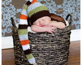PDF Crochet PATTERN 5 Color Braided Tail Elf Hat Photo Prop