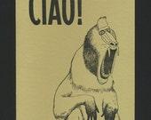 Handmade Letterpress Greeting Card / Ciao