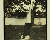 1930s, Head Stand Bathing Suit, Vintage Photo , Snapshot, Photo, Photography, Vintage Collectible, Fashion