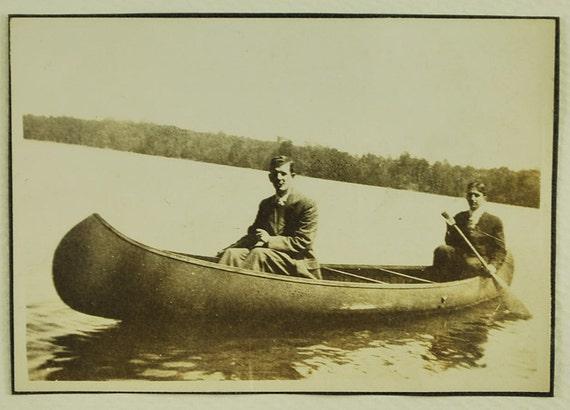 Canoe Guys, 1910's,  Real Photo Snapshot, Vintage Collectible, Photography, Real Photo, Vintage Photo