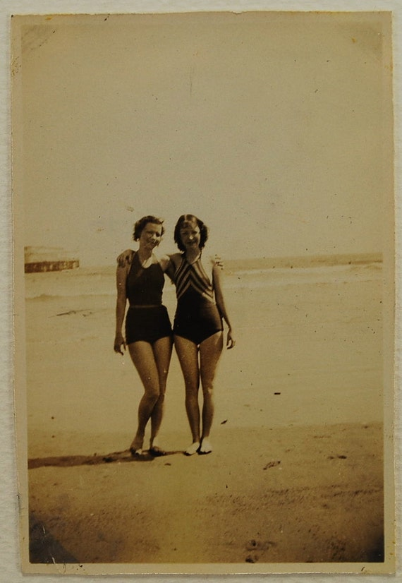 Beach Babes, 1940,  Real Photo Snapshot, Vintage Collectible, Photography, Real Photo, Vintage Photo